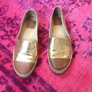 Two Tone Espadrilles Metallic